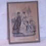 Fin äldre tavla med två finklädda damer och en liten flicka